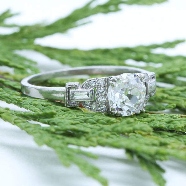 A Marvelous Art Deco Platinum and Diamond Engagement Ring | Back Cove