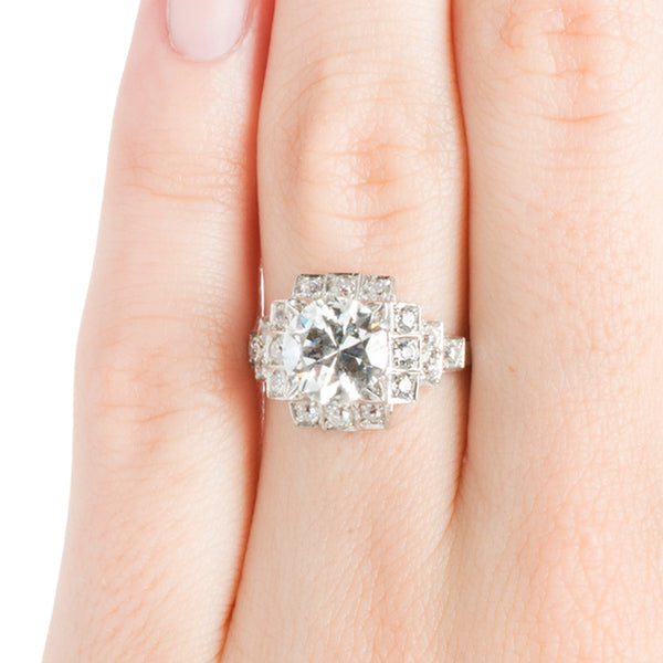 Stunning Art Deco Engagement Ring with Old European Cut Diamonds | Bailey from Trumpet & Horn