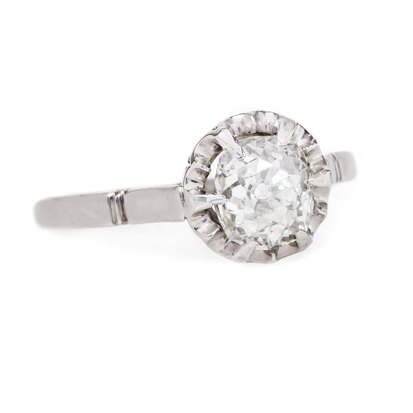 Simple Edwardian Solitaire Engagement Ring with Old Mine Cut Diamond | Banningham from Trumpet & Horn
