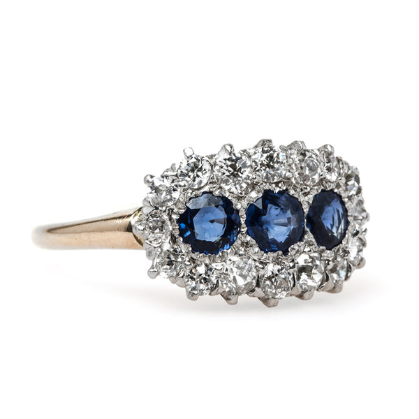 Timeless and Unique Victorian Era Sapphire Ring with Glittering Halo | Barbados from Trumpet & Horn