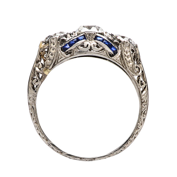 Antique Sapphire Diamond Unique Wedding Ring | Baxley from Trumpet & Horn