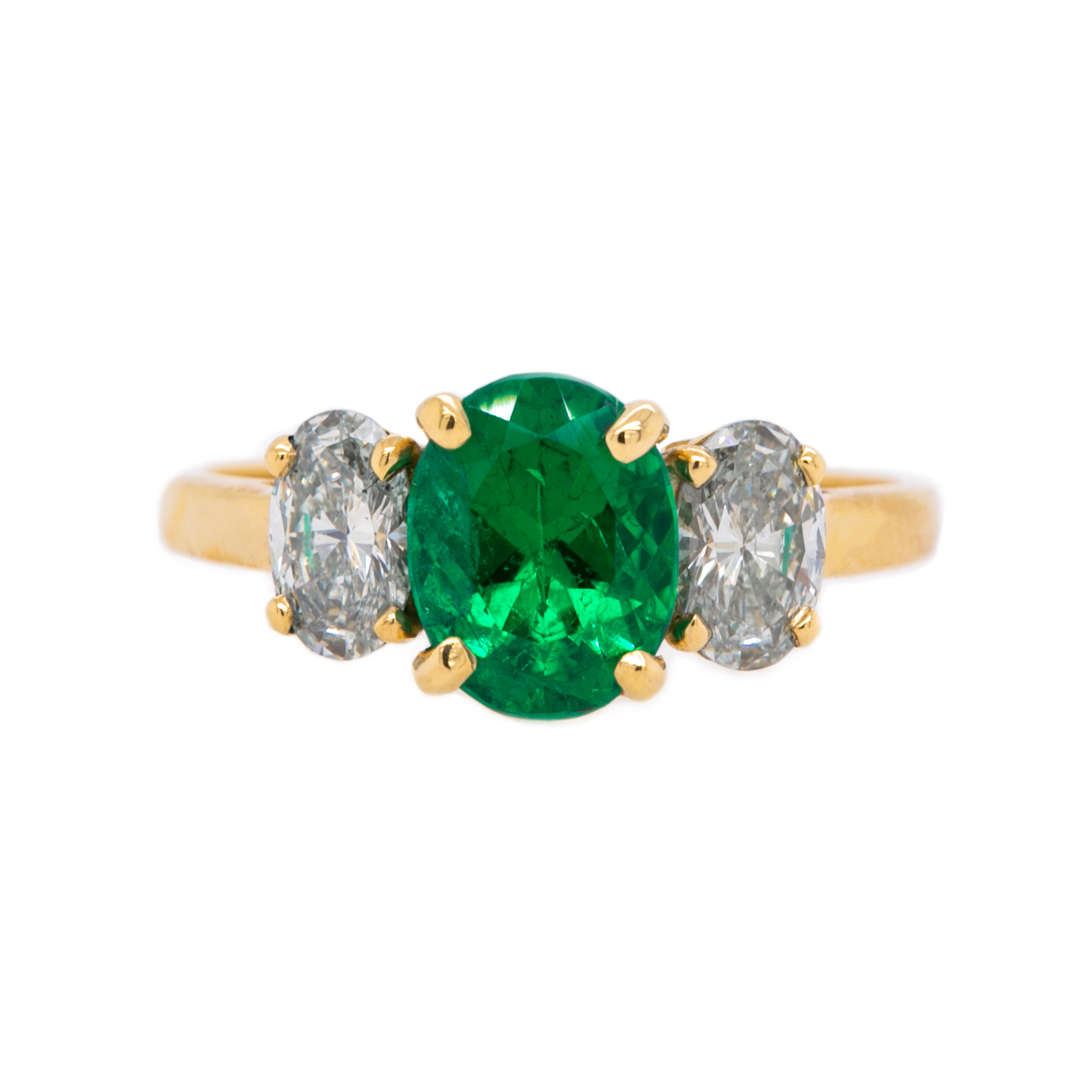 Stunning Modern Era Yellow Gold, Diamond and Emerald Three Stone Engagement Ring | Baytowne