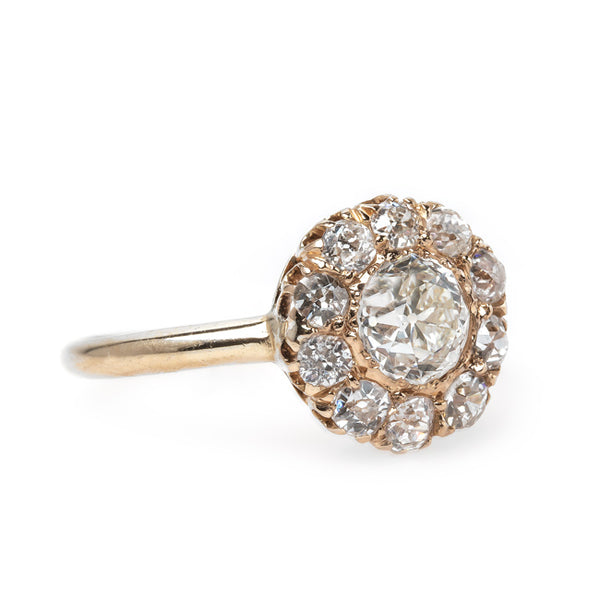 Fabulous Antique Cluster Ring with Old Mine Cut Diamond Halo | Beacon from Trumpet & Horn