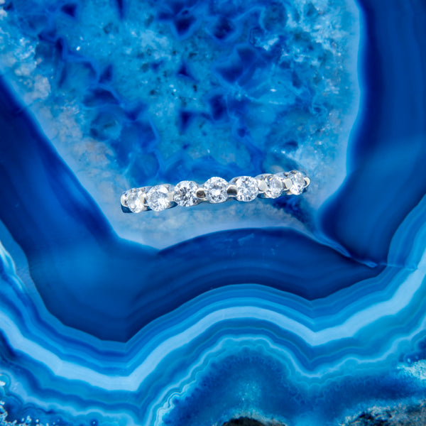 A Timeless Contemporary 14k White Gold and Diamond Wedding Band | Beauport
