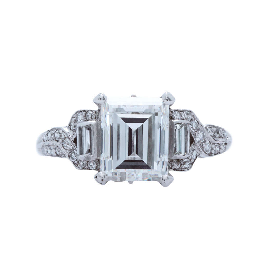 A Magnificent Art Deco Platinum and Carre Cut Diamond Engagement Ring | Belvedere