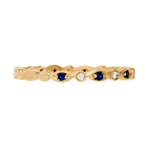Delicate Sapphire and Diamond Wedding Band | Bergamot from Trumpet & Horn