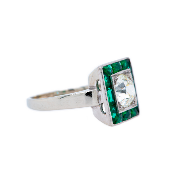 Gorgeous and Authentic Art Deco Platinum, Diamond and Emerald Halo Antique Engagement Ring | Berwyn