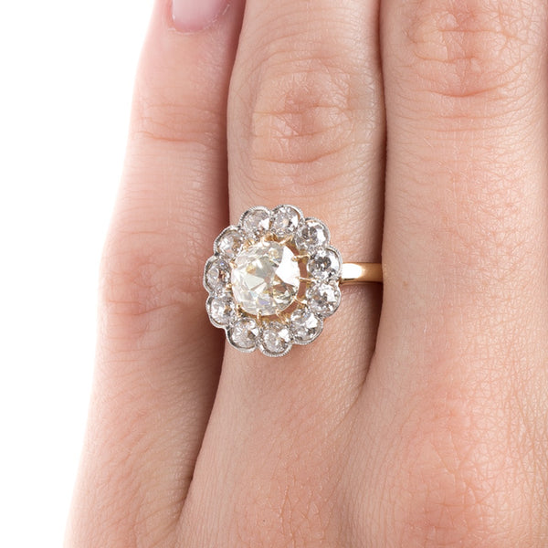 Unbelievable Cluster Halo Ring with Warm Diamond Center | Beverly Hills from Trumpet & Horn