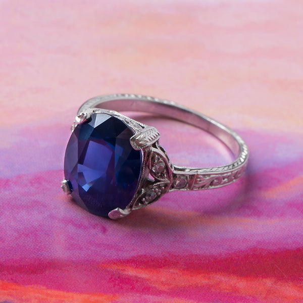 Spectacular Art Deco Sapphire Engagement Ring with Floral Accents | Big Sky from Trumpet & Horn