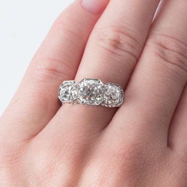 Stunning Edwardian Era Three Stone Diamond Engagement Ring | Big Sur from Trumpet & Horn