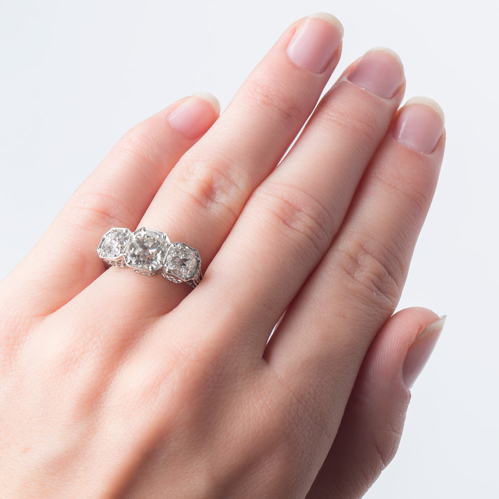 Stunning Edwardian Era Three Stone Diamond Engagement Ring | Big Sur ...