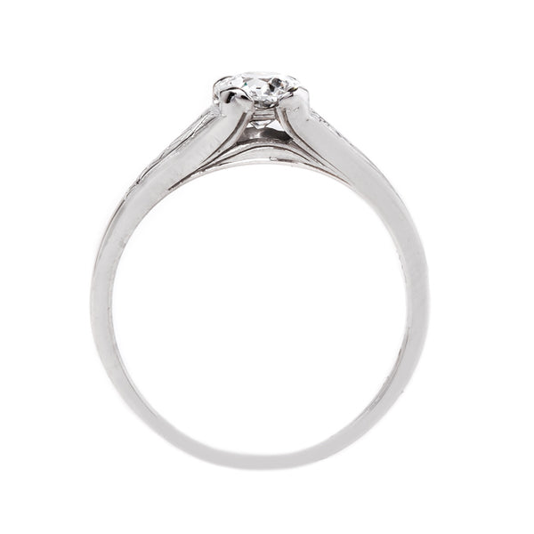 Simple White Gold Solitaire with Hand Engraving | Birchwood from Trumpet & Horn