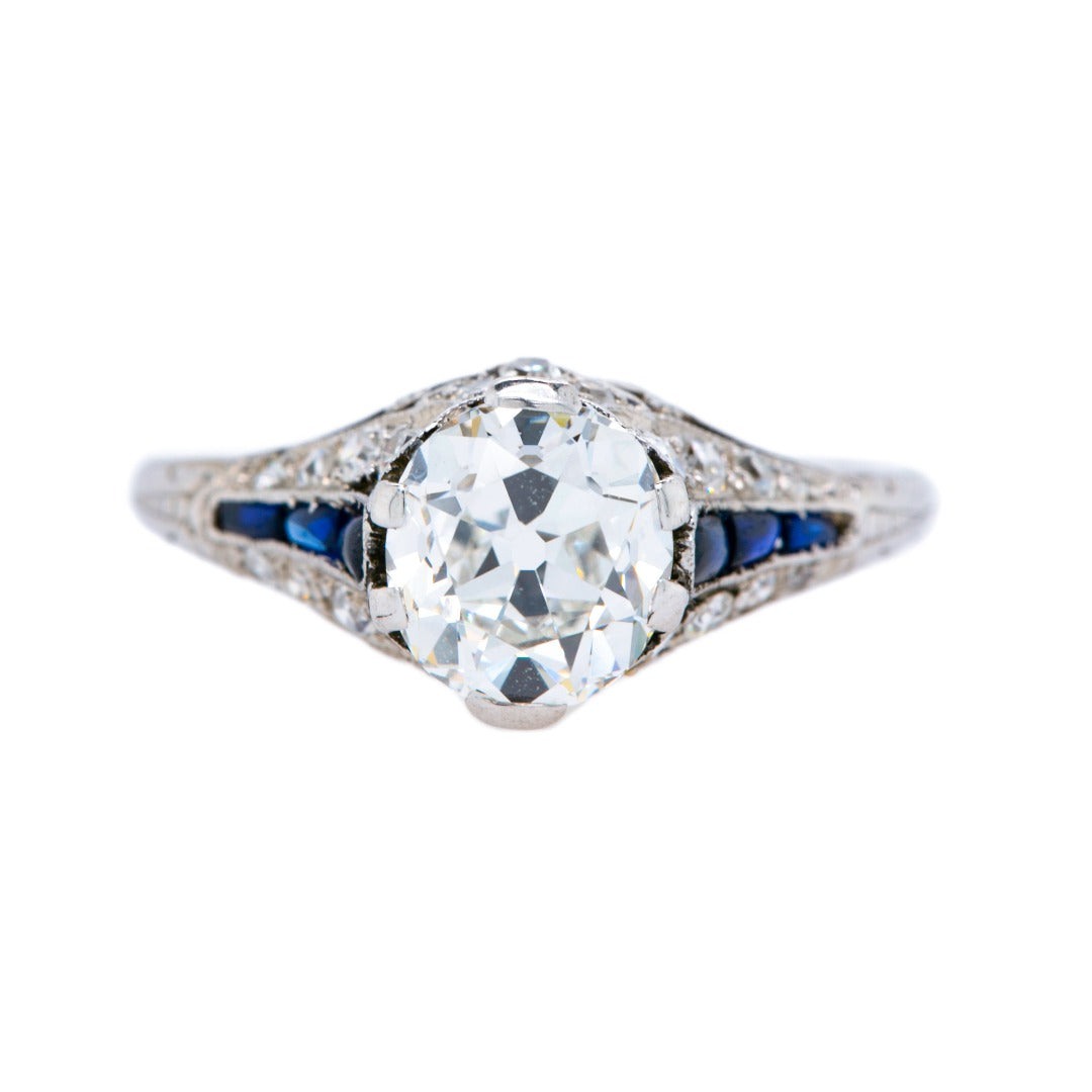 Gorgeous Art Deco Diamond & Sapphire Engagement Ring | Bixby Knoll