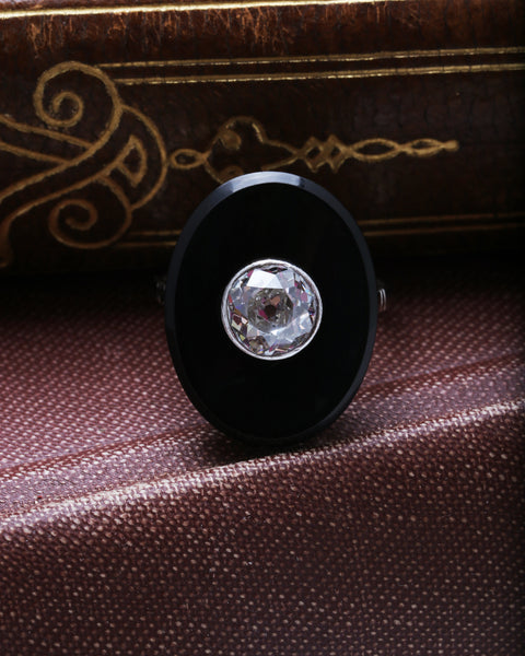 Unique Art Deco Vintage Antique Onyx & Diamond Engagement Ring | Black Forest