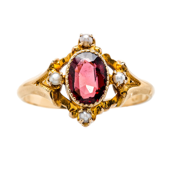Unique Victorian Era Garnet & Seed Pearl Ring | Bloomfield from Trumpet & Horn