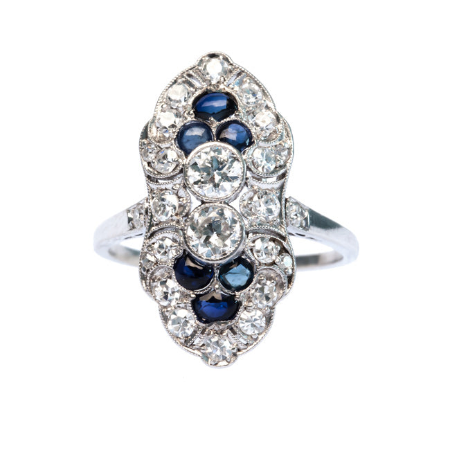 Classic Edwardian Era Platinum Navette Style Ring with Old European Cut Diamonds and Sapphires | Bloomingdale from Trumpet & Horn
