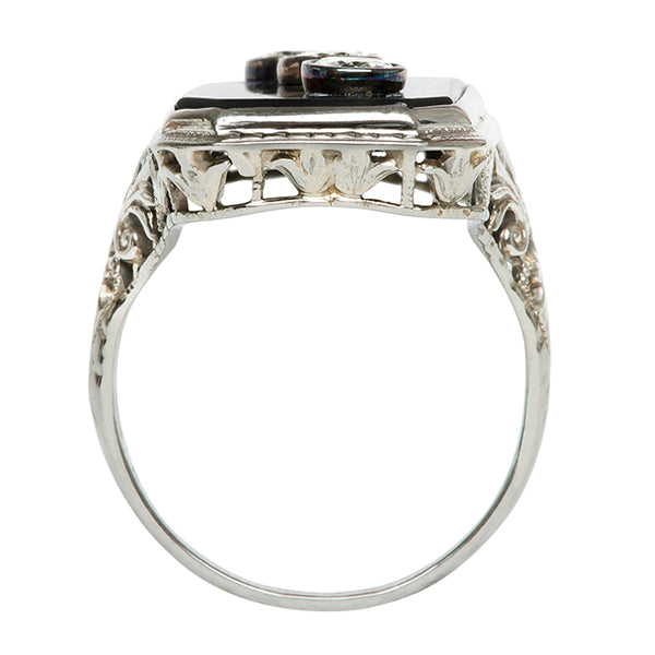 Bodrum Vintage Onyx Diamond Cocktail Ring from Trumpet & Horn