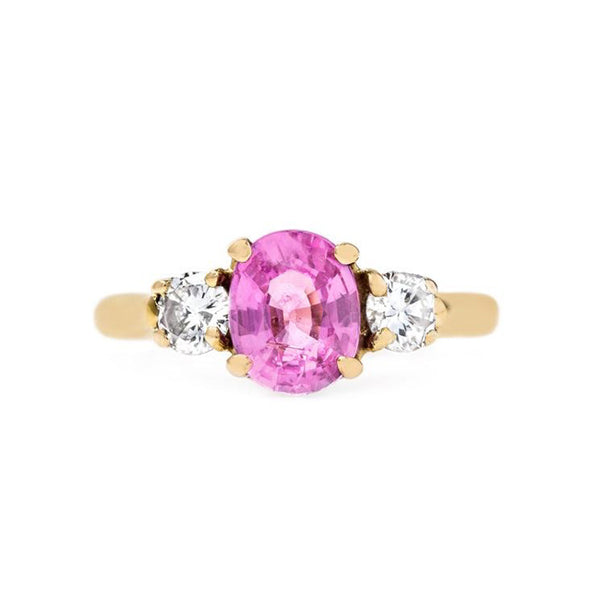 Lovely Pink Sapphire Three Stone Ring | Bolinas Bay from Trumpet & Horn