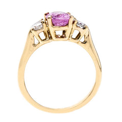 Lovely Pink Sapphire Three Stone Vintage Engagement Ring | Bolinas Bay from Trumpet & Horn Antique Engagement Ring