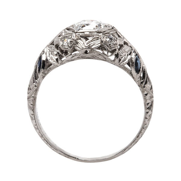 Platinum Edwardian Engagement Ring with Old European Cut Diamond and Single Cut Diamonds | Bond Street from Trumpet & Horn
