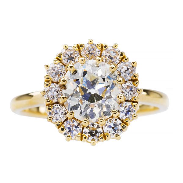 Braswell Diamond is a 18k yellow gold Victorian Era inspired diamond cluster ring