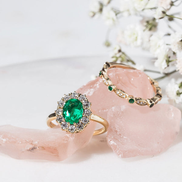 Perfectly Proportioned Emerald Halo Ring | Braswell Emerald from Trumpet & Horn