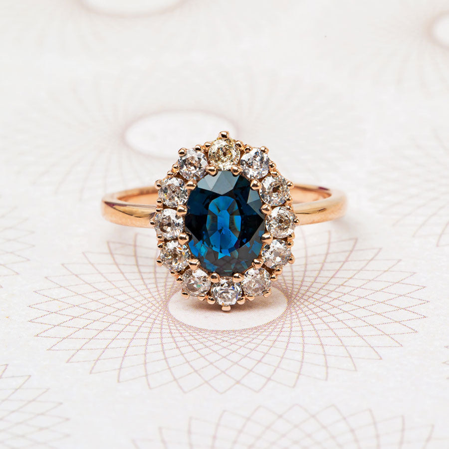 Perfect Vintage Inspired Oval Cut Sapphire And Diamond Vintage Engagement Ring Braswell Trumpet Horn