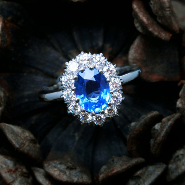 An Incredible Handcrafted Vintage Inspired Platinum, Sapphire and Diamond Engagement Ring