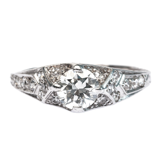 Art Deco Engagement Ring with Round Brilliant Cut Diamond Center | Breakers from Trumpet & Horn