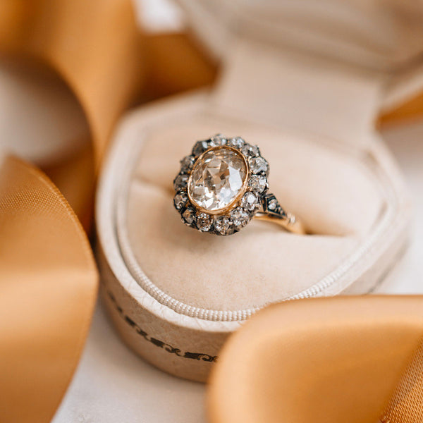 Magnificent Antique Bezel Set Halo Ring | Briarwood