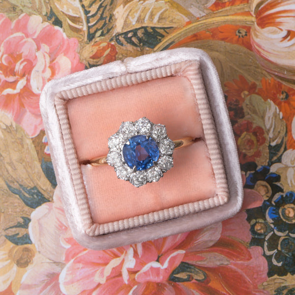 Victorian Era Halo Ring with Cornflower Blue Sapphire Center from Trumpet & Horn