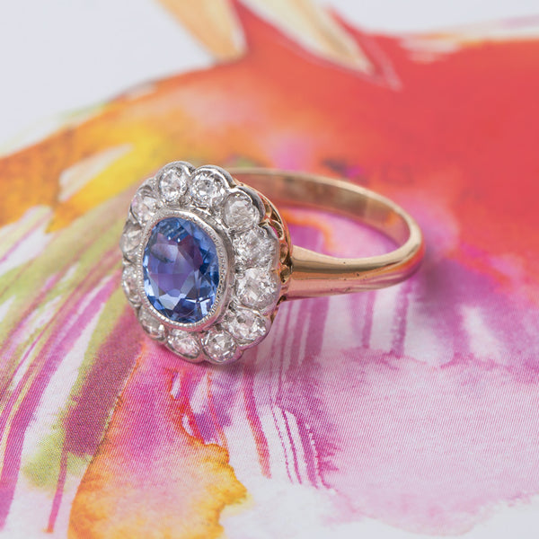 Cornflower Blue Halo Engagement Ring | Brooklawn from Trumpet & Horn