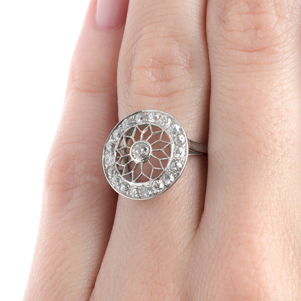 Extraordinary Edwardian Era Engagement Ring with Hand Pierced Filigree | Brooklyn from Trumpet & Horn