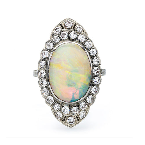 Late Art Deco Cocktail Ring with Large Oval Opal and Diamond Halo | Brookshire from Trumpet & Horn