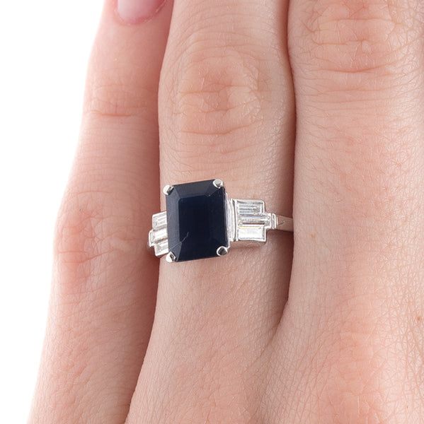 Stunning Deep Blue Sapphire Engagement Ring | Bryant Park from Trumpet & Horn