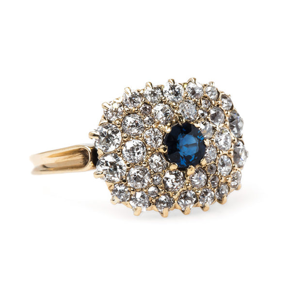 Delightful Sapphire and Diamond Cluster Ring | Bunker Hill from Trumpet & Horn