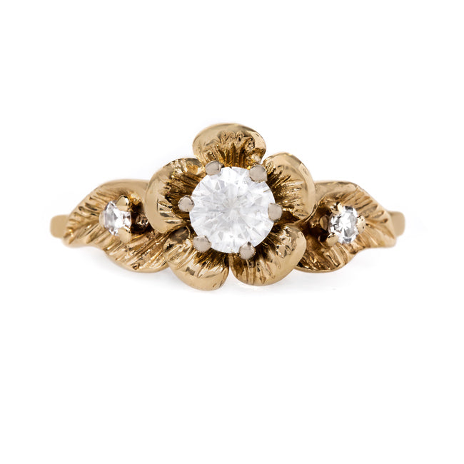 Whimsical Yellow Gold Flower Ring with Round Brilliant Cut Diamond | Butterwick from Trumpet & Horn