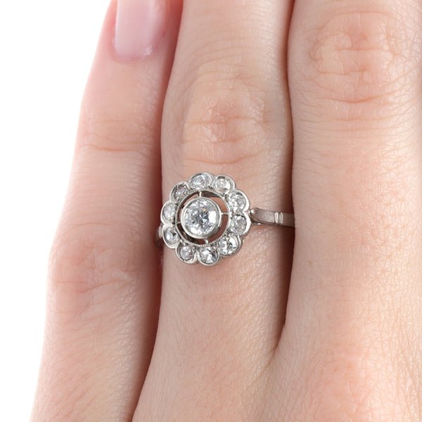 Delightful Edwardian Era Halo Engagement Ring with Scalloped Frame | Campbell from Trumpet & Horn