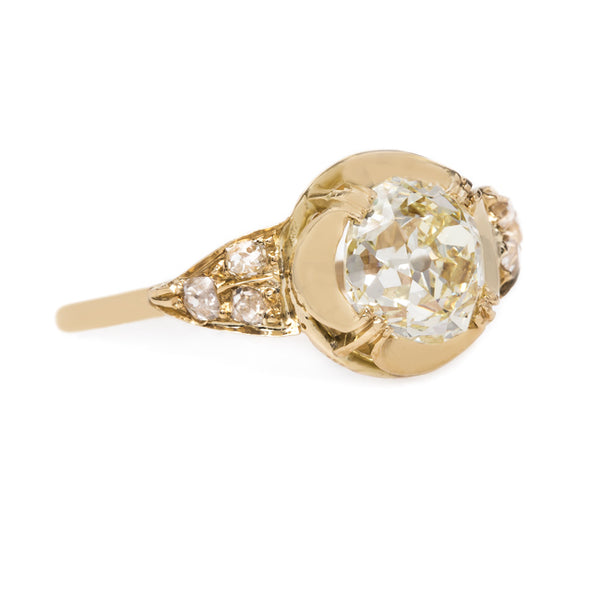 Warm-Toned Old Mine Brilliant Cut Diamond with Vintage Setting | Canary Court from Trumpet & Horn