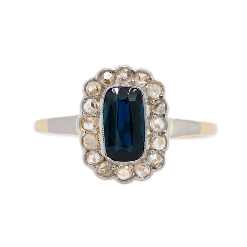 Fit for a Queen Sapphire & Diamond Halo Victorian Ring | Cardiff Bay