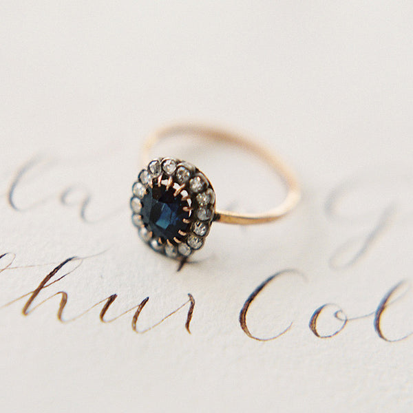 Deep Navy Sapphire Ring | Key Biscane from Trumpet & Horn | Photo by Carmen Santorelli