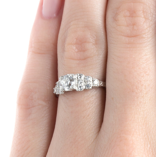 Classic Art Deco Engagement Ring with Geometric Shoulders | Carolwood from Trumpet & Horn