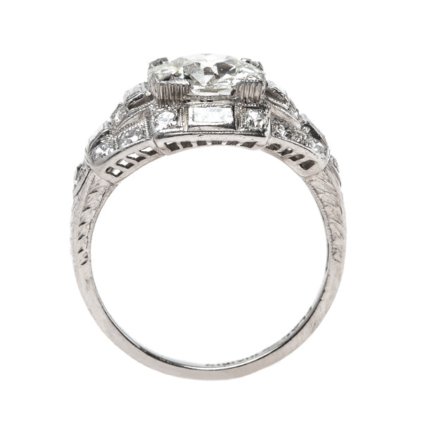Exemplary Platinum and Diamond Art Deco Engagement Ring | Casablanca from Trumpet & Horn