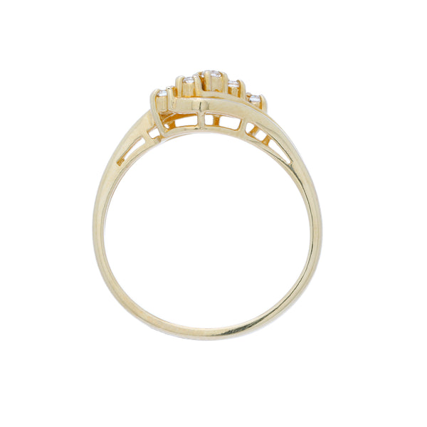 A 1970's Whimsical 18 Karat Yellow Gold and Diamond Wave Ring