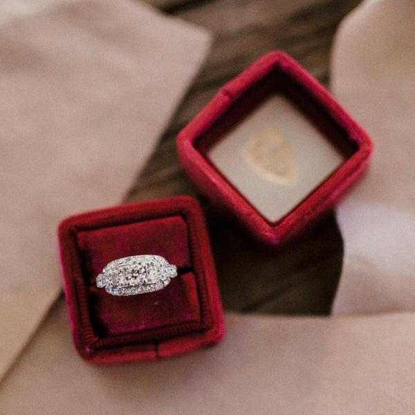 Glittering Three Stone Art Deco Ring | Pikewood from Trumpet & Horn | Photo by Cassie Rosch
