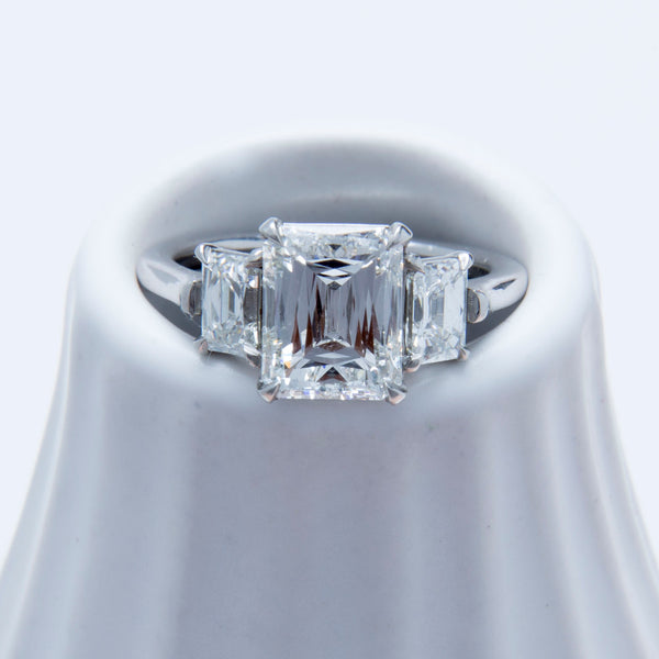 A Fabulous Modern Era Platinum and Diamond Three Stone Ring | Catamount