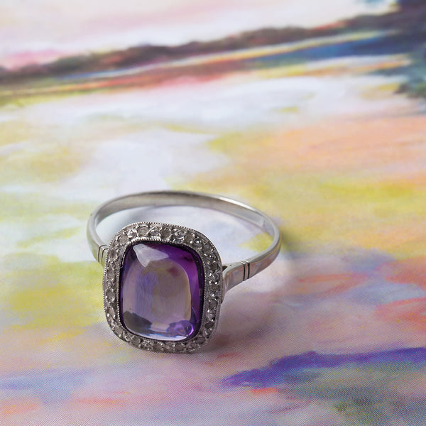 Art Deco Engagement Ring with Sugarloaf Cabochon Amethyst and Rose Cut Diamonds | Catskill from Trumpet & Horn