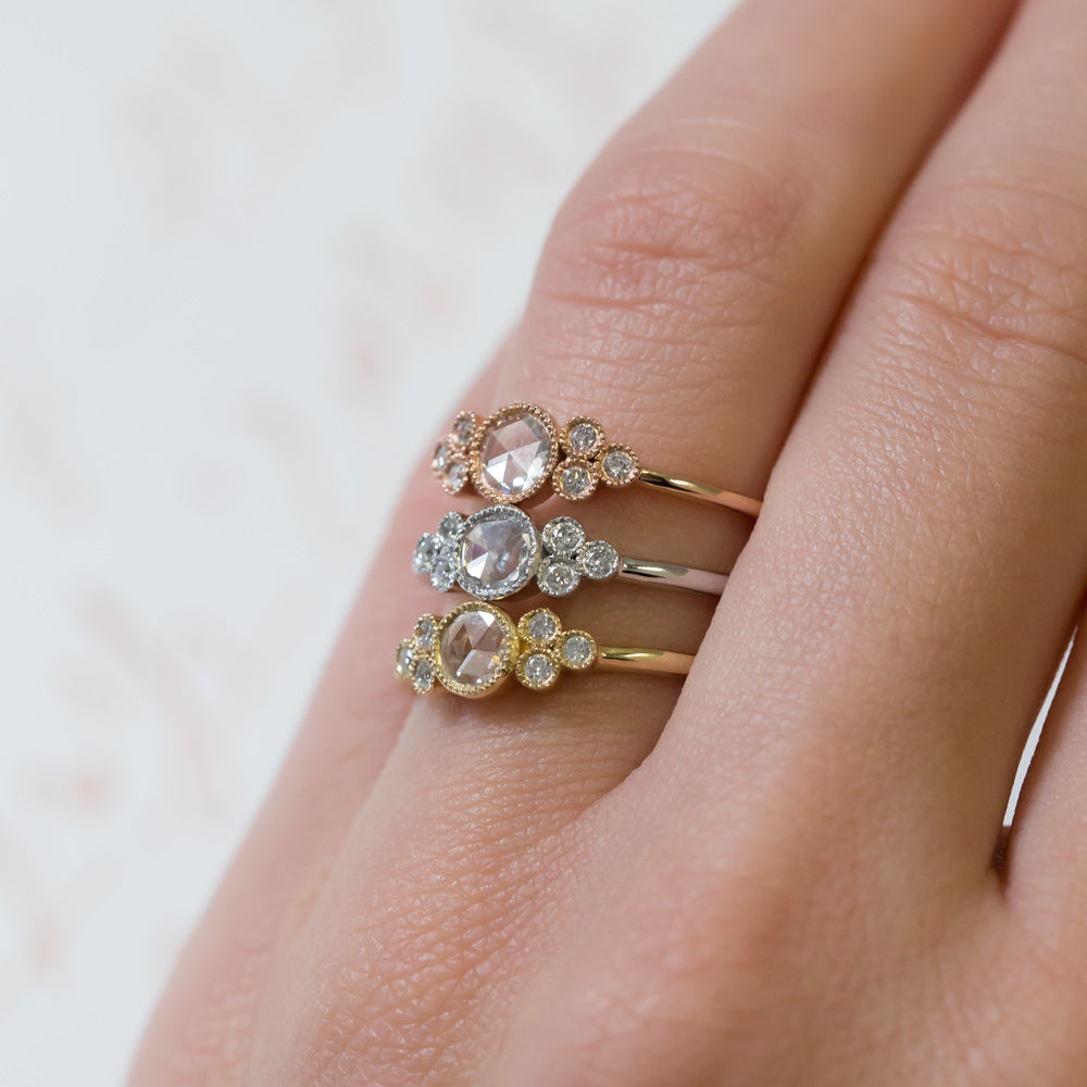 Delicate Rose Cut Engagement Ring | Cayucos Yellow Gold – Trumpet & Horn