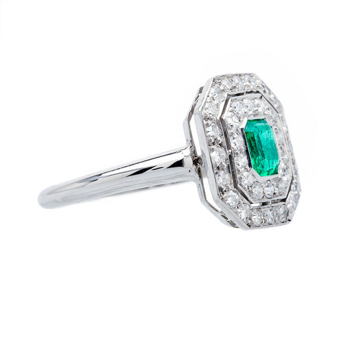 True Geometric Art Deco Emerald & Diamond Ring | Cazador from Trumpet & Horn