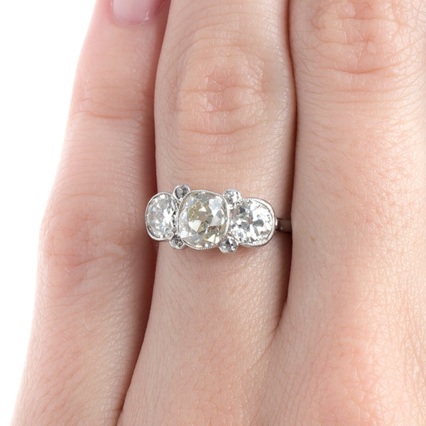 Spectacular Edwardian Era Three Stone Ring with Old Mine Cut Center | Cazenovia from Trumpet & Horn